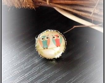 "Cabochon ring ""OWL pair"""