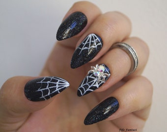 Halloween nails etsy black stiletto nails halloween nails fake nails witch nails kylie jenner prinsesfo Image collections