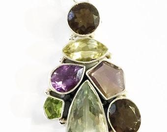 Multi Semi Precious Gemstone in Sterling Silver Pendant