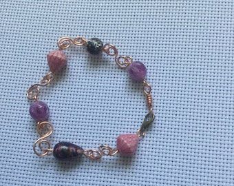 Purple wire wrapped Bracelet