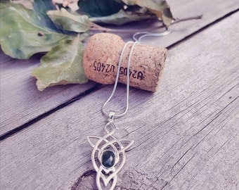 Sterling Silver Celtic Knot Pendant - Your choice of semi precious stone - Made to order - Payment plans available