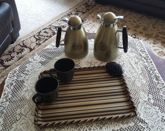 Handcrafted Black and Gold Serving Tray