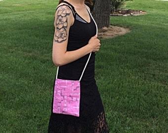Reversible Purse; Reversible Bag; Cross Body Bag; Pink, Grey, Eiffel Tower