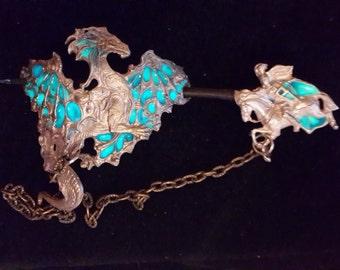 Shining knight and dragon hairpin
