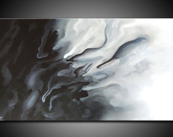LARGE, Original ABSTRACT PAINTING, canvas, Wall Art, Modern, Contemporary, Black, White, Grey