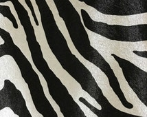 Upholstery Fabric - Chester - Domino - Zebra Animal Print Faux Leather Vinyl Upholstery Fabric by the Yard - Available in 6 Colors