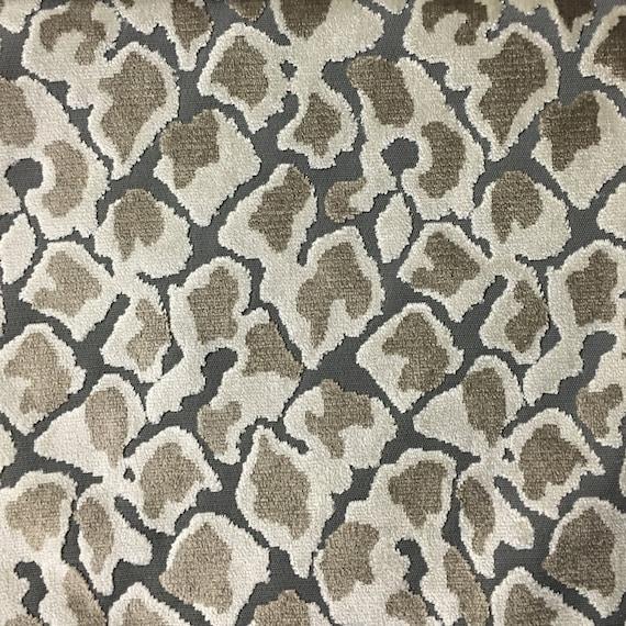 Velvet Upholstery Fabric Hendrix Driftwood Leopard