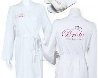 PERSONALISED WEDDING SET Kimono Robe & Slippers