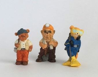 Vintage JC figurines set of 3, animal figurines, 1990s collectibles, profession dress up figurines