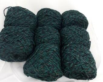 Green and black yarn, green yarn, black yarn, gold yarn, wool yarn, knitting yarn, crochet yarn, yarn lot, cheap yarn, DK yarn