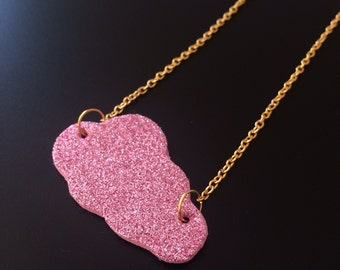 Cloud fairy, pink glittery, gold chain necklace