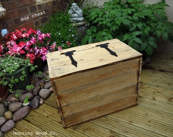 Handcrafted wooden rustic box chest