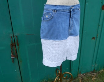 Upcycled jean and lace skirt