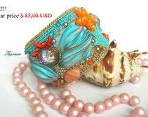 "Shibori jewelry, Embroidery Bracelet, shibori bracelet, Blue Bracelet, Swarovski jewelry, Silk, leather bracelet, gifts ""Sea treasures"""