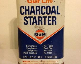 Vintage Gulf Lite Charcoal Starter 32oz empty tin/ Gulf Oil Co. USA