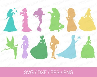 Disney Princess Svg, Disney Princess Silhouette, Disney Eps, Svg, Eps, Dxf, Png use with Cricut & Silhouette