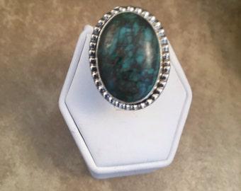 Vintage Navajo Kingman Turquoise & Sterling Silver Ring Size 6.5