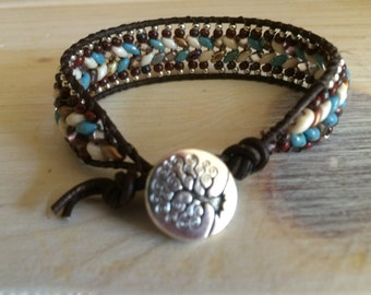 Herringbone 1 Wrap leather beaded bracelet