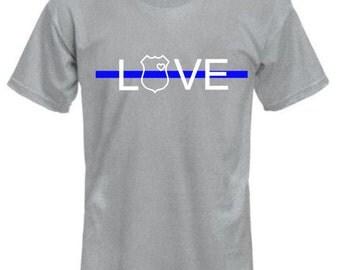 Blue line love shirt