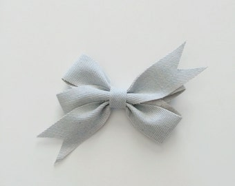 Light Denim Hair Bow