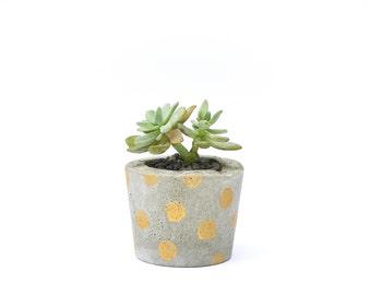 Gold Spotty Concrete Planter