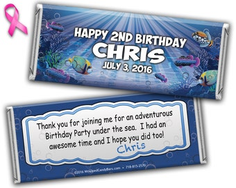Under The Sea Candy Bar Wrappers Printed or Digital File, Under The Sea Birthday Candy Wrapper, Under The Sea Hershey Bar Wrapper