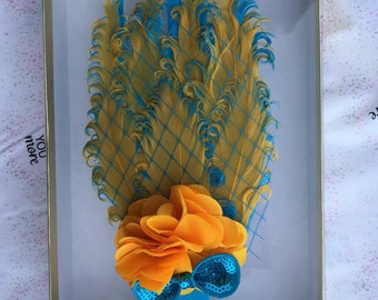 Baby Toddler Child feathered headband. Turquoise and yellow
