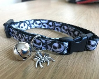 Jack Skellington (Nightmare Before Chrismas) Cat Collar in black and white (Quick Release)
