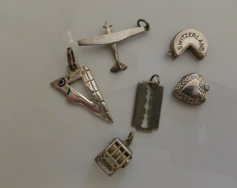 One Vintage Sterling Silver Charm, One Remaining, Heart Charm