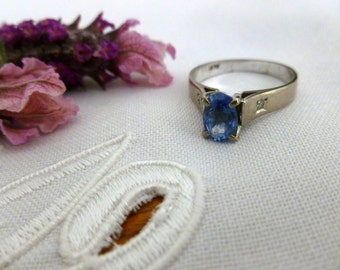 Vintage 18CT White Gold Sapphire and Diamond Ring, 18K White Gold Ring, Blue Sapphire Ring, Vintage Ring, Engagement Ring, Eternity Ring