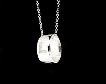 Sterling Silver Love Engraved Ring Pendant & Chain