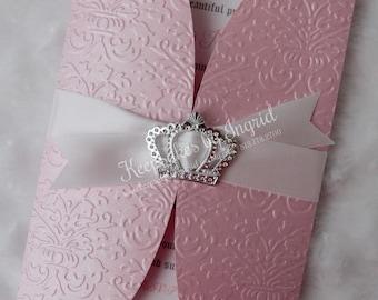 Pink princess gatefold invitation- Set of 20