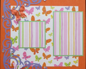 Butterfly - Friends - 12X12 Two Page Premade Scrapbook Layout