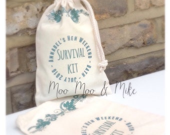 Personalised cotton gift bag | Hen do | Wedding gift | Flower girls | Bridesmaid | Survival kit | Hangover kit | Any wording, any colour.