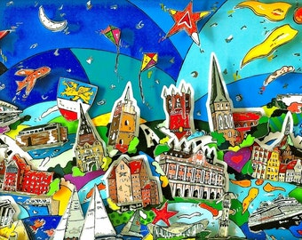 Rostock 3D Pop Art skyline cityscape shadow box print Baltic Sea
