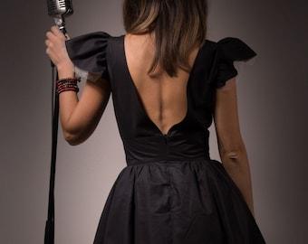 """Dress """"Amy"""" / 50s dress / swing dress / little black dress / vintage style dress / rockabilly dress / open back dress / petticoat dress"""