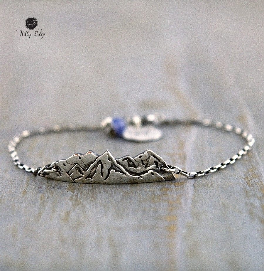 silver bracelet mountains on a chain travel jewelry mountain