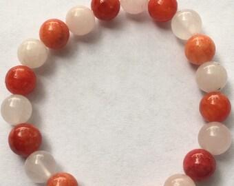 Coral and light pink bracelet
