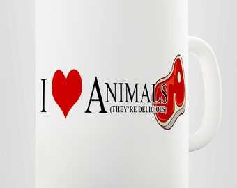 I Love Animals Carnivore Meat Eaters Ceramic Novelty Gift Mug
