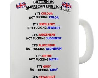 British vs American English Words Ceramic Mug