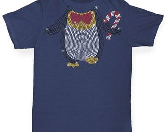 Girl's Headless Dancing Penguin Rhinestone Diamante T-Shirt
