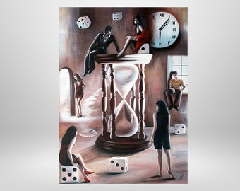 Hourglass, original oil painting, surrealism, surreal, unique, fantasy painting, paintings, figures
