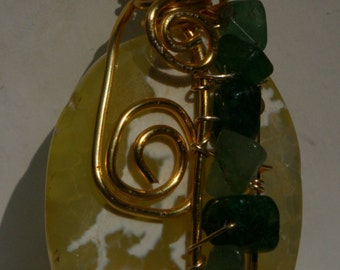 Yellow and green Wire wrapped Agate pendant