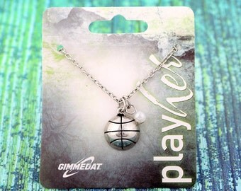 Customizable Silver Basketball Necklace with Pearl - Personalize with Jersey Number, Heart Charm, or Letter Charm! Great Basketball Gift!
