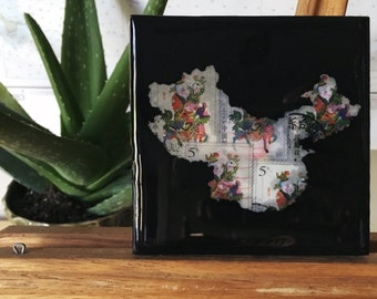 China on canvas - black