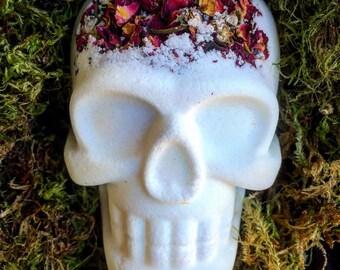 Bath Bomb, Sugar Skull Bath Bomb, Sugar Skull, Hidden Color Bath Bomb, White Bath Bomb, Bath and Body, White Bath Bomb, Rose Bath  Bomb