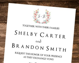 Elegance Wedding Printable Invitation / Digital File Only