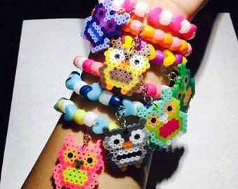 EDC Owl Perler Beads Kandi Bracelet