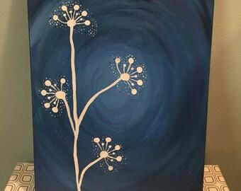 Blue floral canvas
