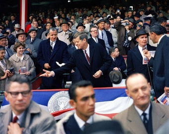 President John F. Kennedy Attends Opening Day Ceremonies at Griffith Park In Washington D.C. in 1961  - 5X7 or 8X10 Photo (BB-248)